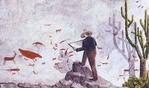 Desenho de Brandt retratando peter Lund analisando as pinturas rupestres do rochedo dos índios, na Lapa da Cerca Grande em Matozinhos (MG). Acervo do Museu Botânico de Copenhage. (MARCHESOTTI, 2011,p.155)