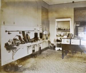 Sala de preparação, montagens e determinações do Serviço de Assistência ao Ensino da História Natural. Fonte: Relatório anual da 5ª seção de 1929 . (SEMEAR/MN)