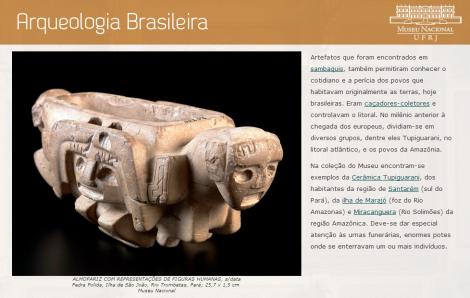 """Uma das telas referentes à Arqueologia Brasileira presentes no """"Guia de Visitação ao Museu Nacional"""""""