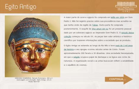 """Uma das telas referentes ao Egito Antigo presentes no """"Guia de Visitação ao Museu Nacional"""""""