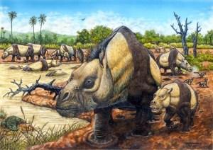 Um grupo de Toxodontes (Ilustração: Maurílio Oliveira)