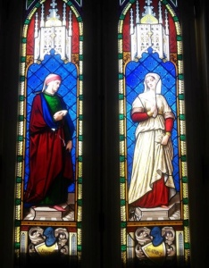 Vitrais representando Dante e Beatriz