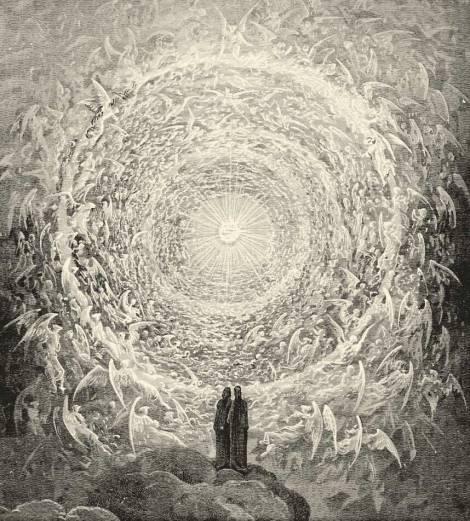 Rosa Celeste: Dante e Beatriz contemplam o mais elevado dos céus. ( Gustave Doré, 1892)