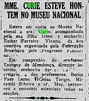 Curie no Museu - Correio da Manhã 30 Junho 1926 p 7