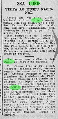 Curie no Museu - Jornal do Brasil 30 Junho 1926 p 7