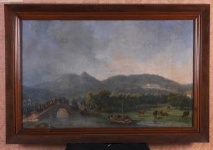 Em primeiro plano, D. João VI, Dona Carlota Joaquina e comitiva atravessam sobre o Rio de Janeiro, na Quinta da Boa Vista, em carruagem aberta. Ao fundo, à direita, está o Paço Real, 1808-1809